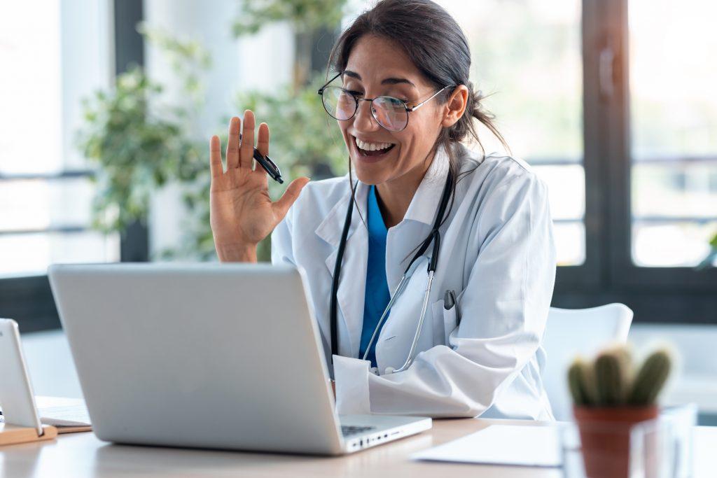 Doctor providing medical services via telehealth.